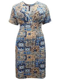 BEIGE Pleat Feature V-Neck Tile Print Jersey Dress - Plus Size 16 to 30/32