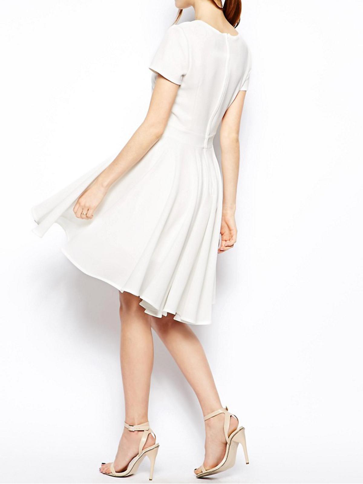 Asos Ivory Short Sleeve Dipped Hem Full Skirt Skater Dress