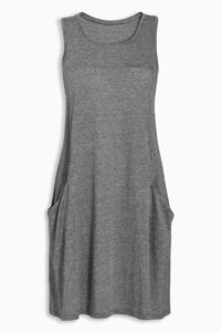 GREY Sleeveless Plain Jersey Pocket Dress - Size 12
