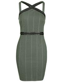 T0PSH0P KHAKI PU & Chain Trim Rib Textured Bodycon Dress - Size 6 to 16