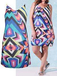 SimplyBe WHITE V-Neck Multi Print Cami Dress - Plus Size 12 to 18