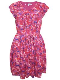 CrewClothing MAGENTA Floral Print Tie Waist Dress - Size 8 to 16
