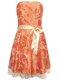 Karida ORANGE Ribbon Sash Organza Dress - Size 10 to 16