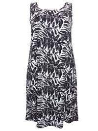 Tutti Frutti BLACK Scoop Back Palm Print Dress - Plus Size 14/16 to 22/24 (Small to XXLarge)