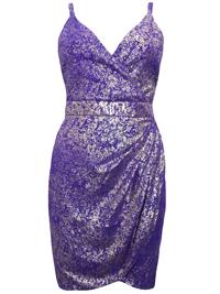 VLabel PURPLE Cowl Back Metallic Preston Dress - Size 4 to 10