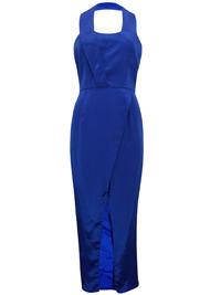 VLabel ROYAL-BLUE Spa Halterneck Split Front Maxi Dress - Size 4 to 8