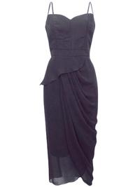 VLabel BLACK Parsons Double Strap Drape Dress - Size 4 to 16