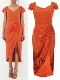VLabel ORANGE Jewel Split Front Midi Dress - Size 6 to 16