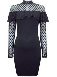 Wonderful BLACK Spotted Lace Bardot Frill Bodycon Dress - Size 6 to 12