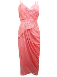 VLabel CORAL Metallic Print Double Strap Drape Dress - Size 4 to 16