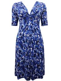 EAST Designer BLUE Twist Front Printed Jersey Dress - Size 8