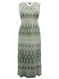 Cellbes KHAKI Sleeveless Printed Maxi Dress - Plus Size 12/14 to 24/26 (EU 38/40 to 50/52)