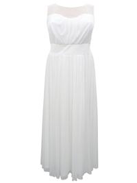 Scarlett & Jo IVORY Mesh Yoke Long Wedding Dress - Plus Size 22 to 24