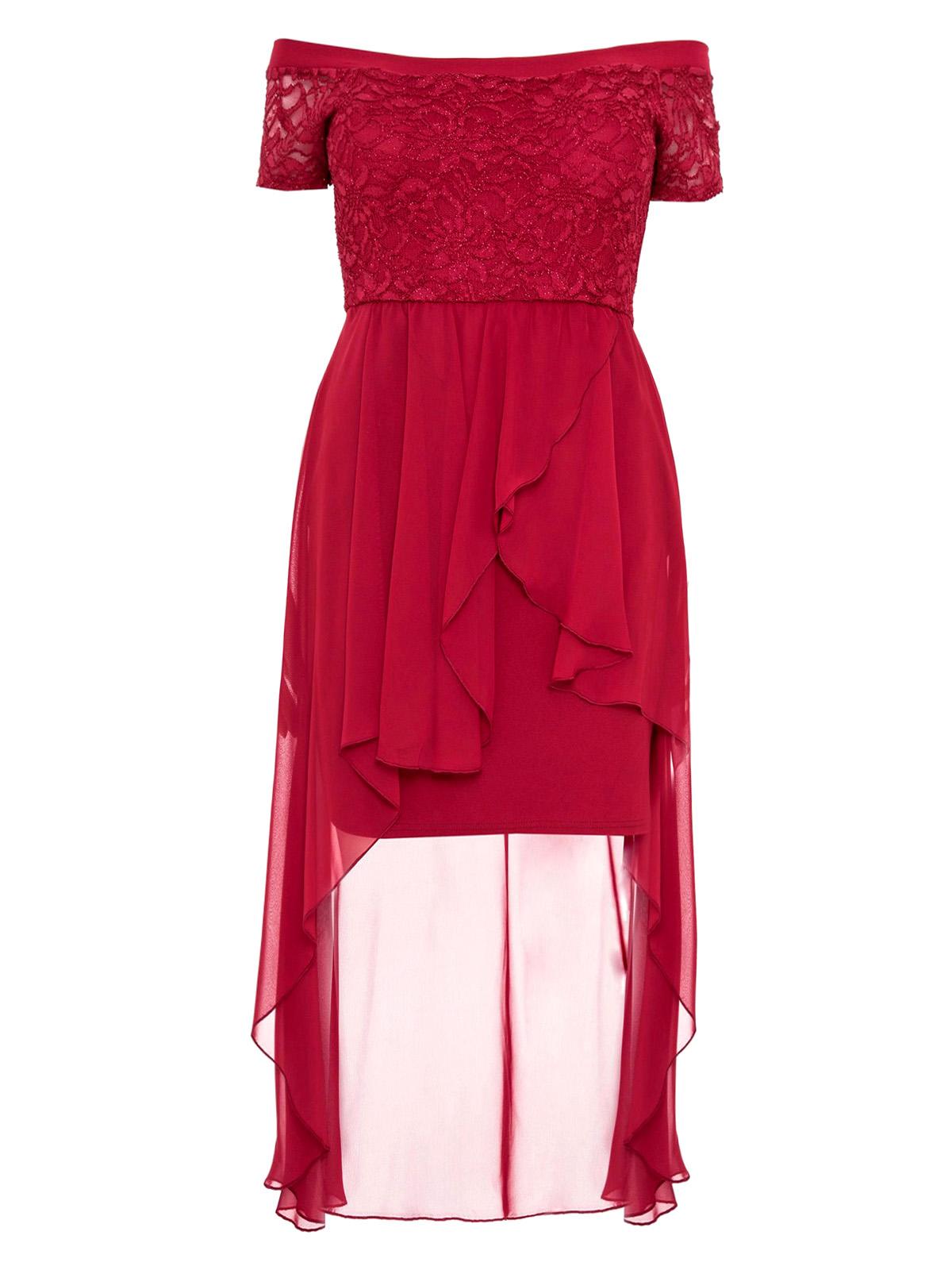 Black Size 8-18 New Quiz Glitter Bardot Dip Hem Dress