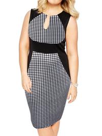 Praslin BLACK Check Print Curvy Contrast Panel Illusion Pencil Dress - Plus Size 16 to 26