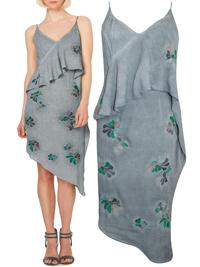 Label Lab DARK-GREY Embroidered Asymmetric Dress - Size 8 to 14
