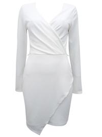 M1ss S3lfridge IVORY Asymmetric Wrap Midi Dress - Size 6 to 18