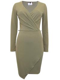 KHAKI Asymmetric Wrap Midi Dress - Size 6 to 14
