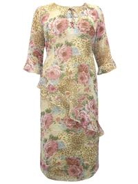 Canda BROWN Animal Print Tie Neck Midi Dress - Plus Size 16/18 to 28/30