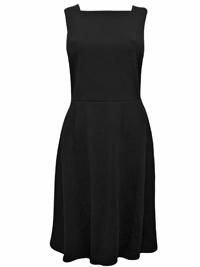BLACK Square Neck Zip Back Skater Dress - Size 8 to 10