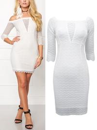 Bubbleroom WHITE Brandy Lace Bardot Mini Dress - Size 8 to 16 (34 to 42)
