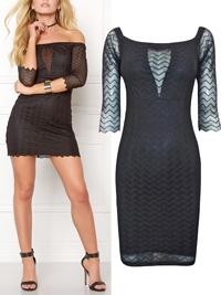 Bubbleroom BLACK Brandy Lace Bardot Mini Dress - Size 8 to 14 (34 to 40)