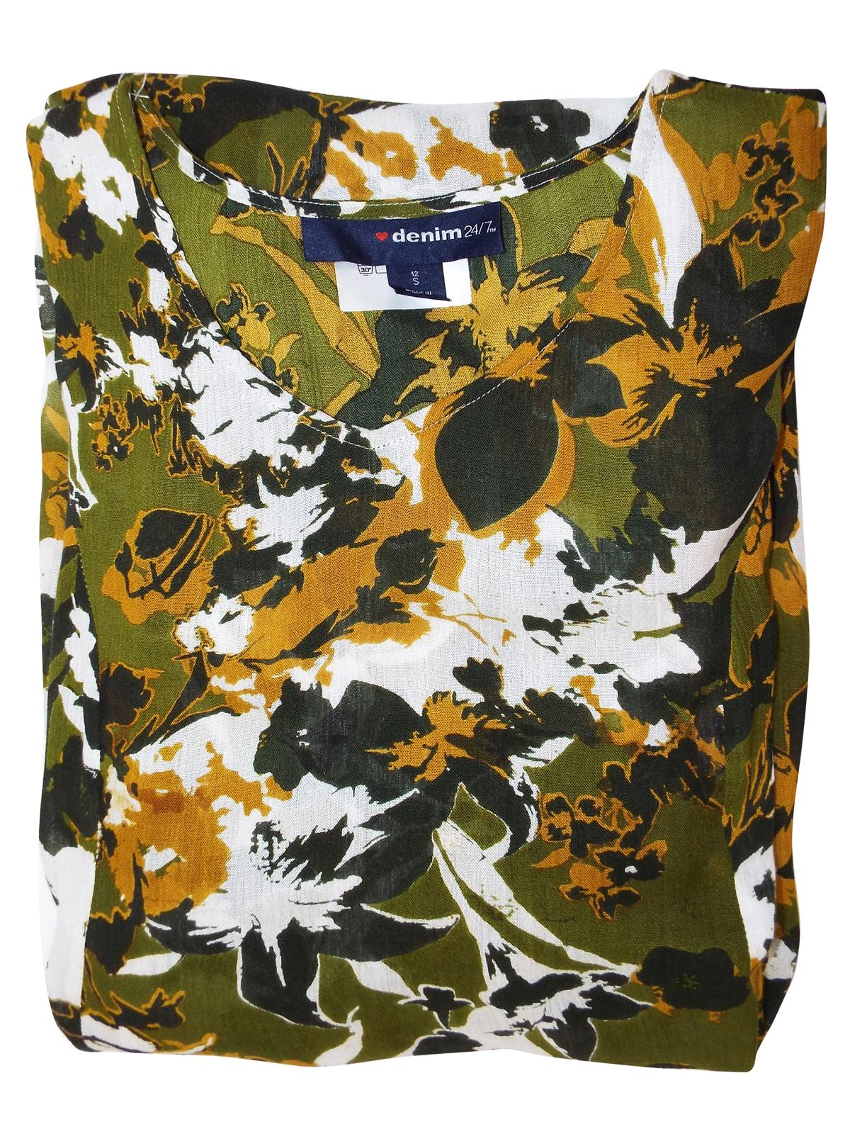 Crinkle MAXI DRESS Denim 24//7 GREEN Floral Print Short Sleeve Size 14//16-42//44
