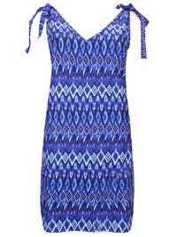 Matalan BLUE Tie Strap Aztec Print Dress - Size 12