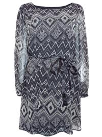 BLACK Aztec Print Chiffon Mini Dress with Ribbon Belt - Plus Size 16 to 18