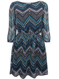 BLACK Aztec Print Chiffon Mini Dress with Belt - Size 10