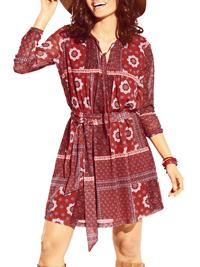 HE1NE BestConnections ORANGE Ethnic Print Tie Neck Belted Dress - Size 8 to 18