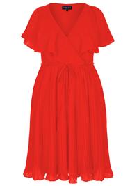 Scarlett & Jo RED Cape Sleeve Chiffon Pleat Skirt Midi Dress - Plus Size 20 to 28