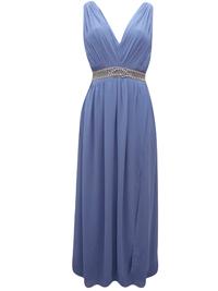 IRREGULAR - Little Mistress SMOKEY-BLUE Sleeveless Ruched Maxi Dress - Plus Size 16 to 24