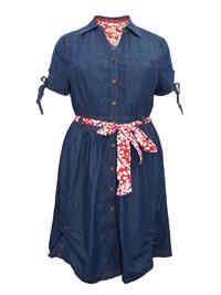 Joe Browns Joe Browns Delightful Denim Dress With Printed Belt - Plus Size 14 to 32