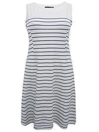 Seppala Woman WHITE Sleeveless Nautical Striped Swing Dress - Size 6 to 20/22 (XSmall to XLarge)