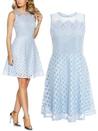 Quiz Pale BLUE Crochet Burnout Mesh Skater Dress - Size 8 to 14