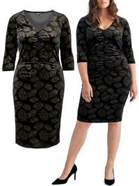 Ellos BLACK Loreen Ruched Velour Midi Dress - Plus Size 18 to 34 (EU 44 to 60)