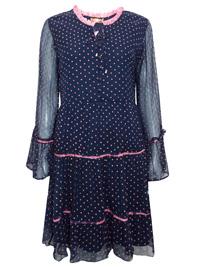 Markshara NAVY Tie Neck Polka Dot Contrast Trim Tea Dress - Size 10 to 20 (EU 38 to 48)