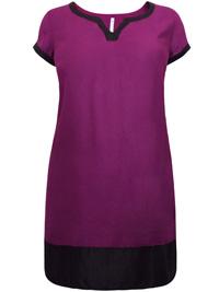 Blancheporte PURPLE Color Block Trim Shift Dress - Size 10 to 28