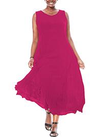 Woman Within FUCHSIA Sleeveless V-Neck Crinkle Maxi Dress - Plus Size 14/16 to 46/48