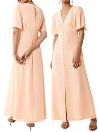 W4REHOUSE PEACH Angel Sleeve Bridesmaid Dress - Size 6 to 16