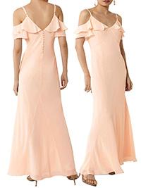 W4REHOUSE PEACH Frill Detail Wrap Dress - Size 6 to 18
