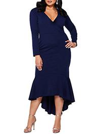 QUIZ NAVY Fishtail Midi Dress - Plus Size 16 to 22