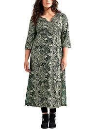 Ellos Joelle BLACK Lotus Half Sleeve Embellished Maxi Dress - Size 8 to 26 (EU 34 to 52)