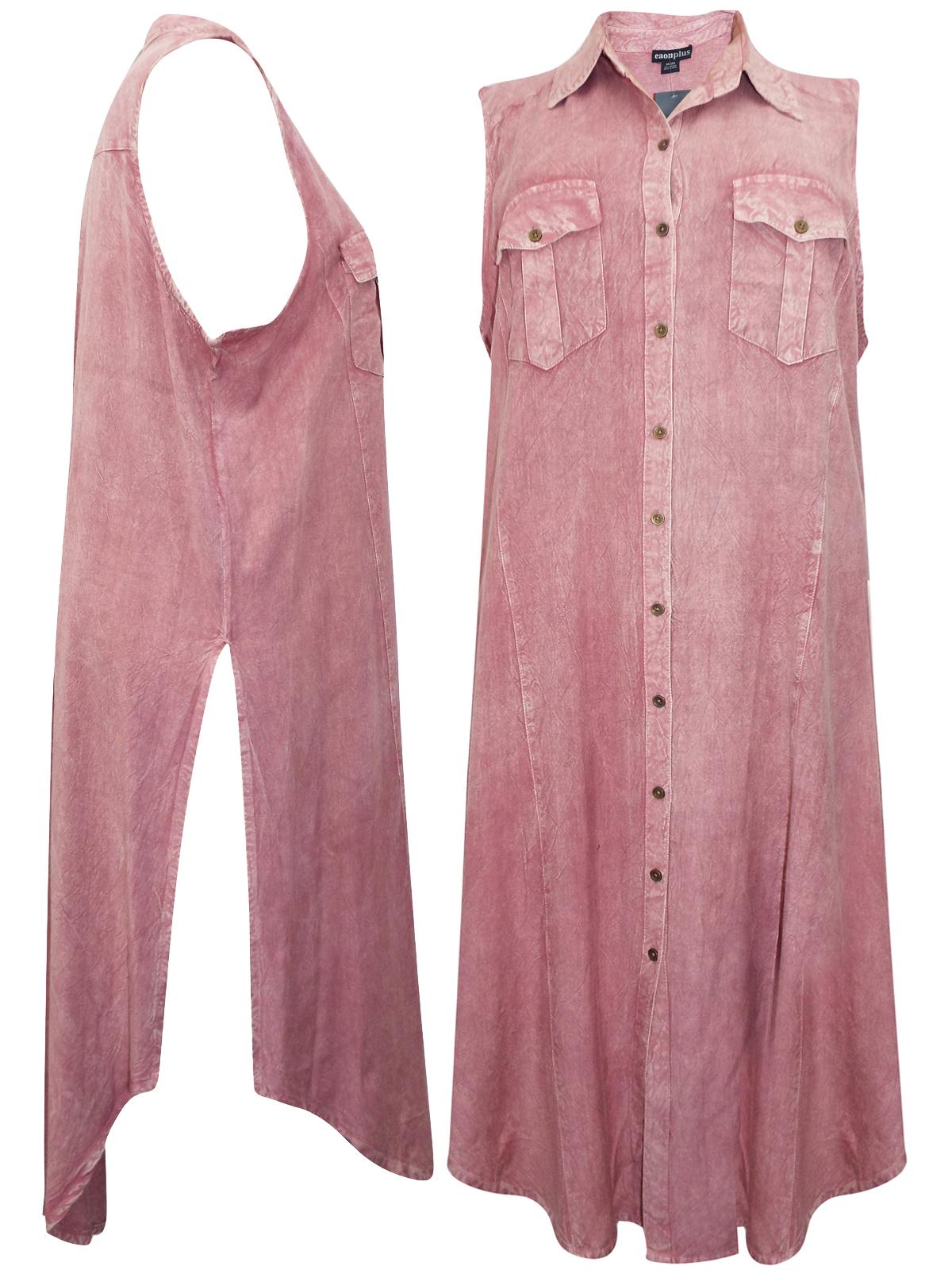 Eaonplus Vintage Rose Sleeveless Collared Shirt Dress Plus Size