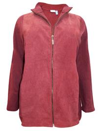 IRREGULAR - Liz&Me BURGUNDY Suede Panelled Zip Through Jacket - Plus Size 18/20 to 30/32 (US 1X to 4X)