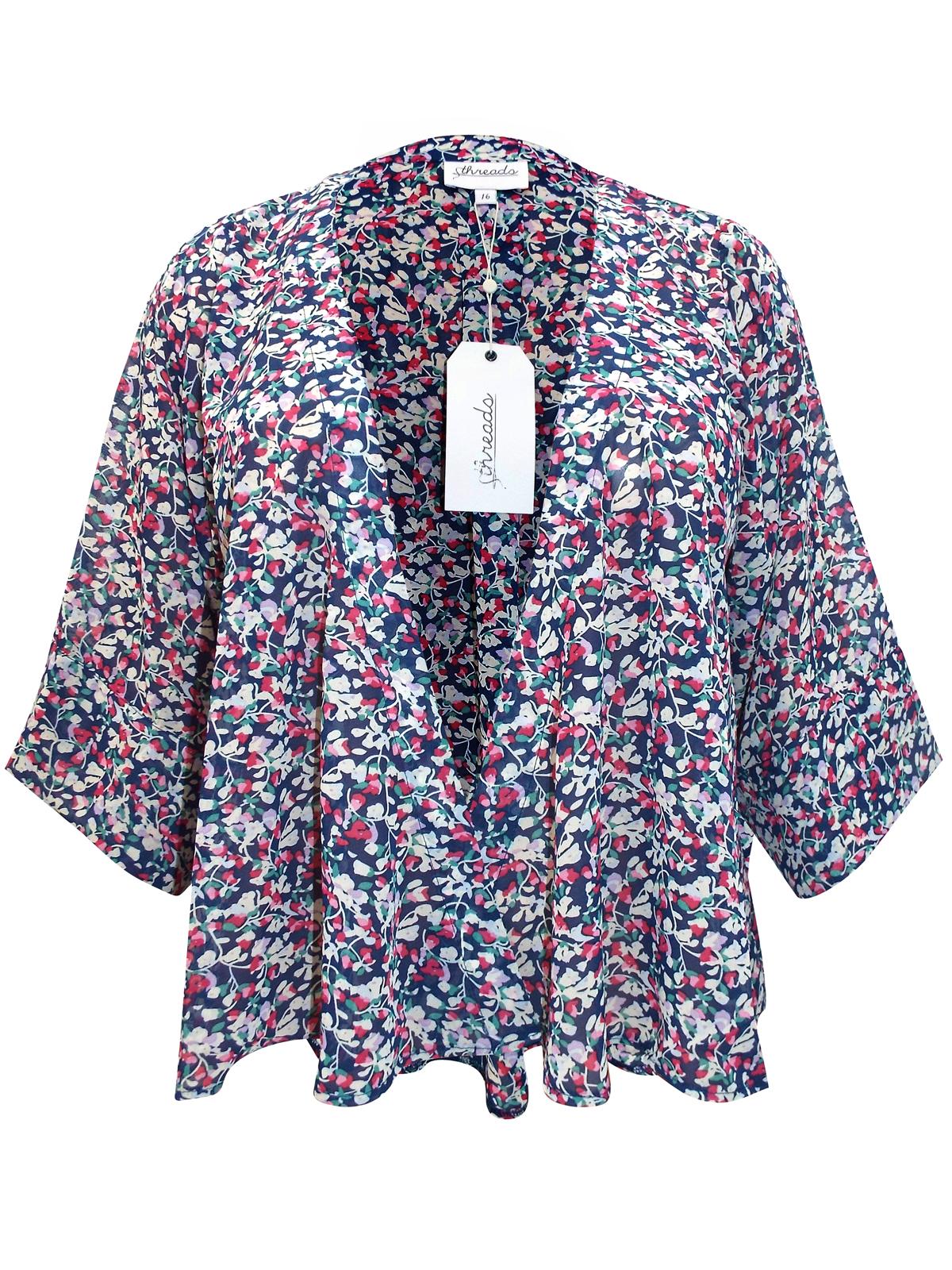 acfbb2b812 Threads - - Threads NAVY Floral Print Kimono Jacket - Plus Size 16 to 26