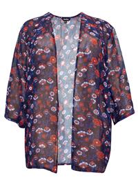 LabelBe NAVY Floral Print Kimono - Plus Size 12 to 16