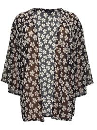 Capsule BLACK Floral Print Kimono Cover-Up - Plus Size 10 to 30