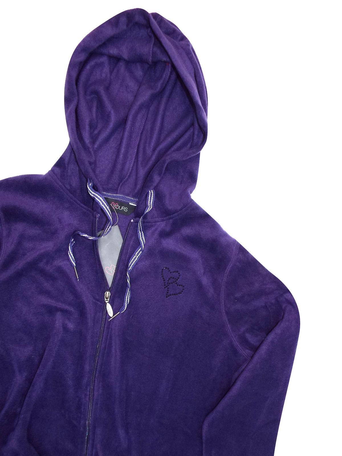 5812e0fe064 Yours PURPLE Double Heart Black Embellished Hooded Fleece Jacket ...